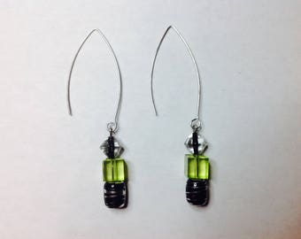 Dangle Green and Black Earring