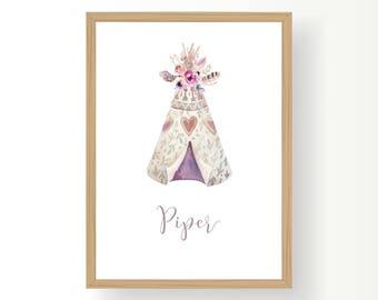 Girls Nursery, Printable, Personalized Wall Art, Teepee, Boho, name art