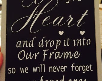 Sign for heart drop frames