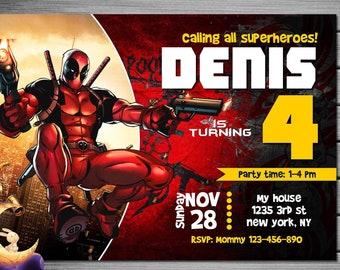 Deadpool Birthday Invitation