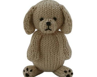 Stuffed Puppy, hand knit, organic