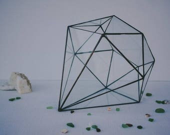 Geometric terrarium, glass vase, wedding decor, diamond, florarium