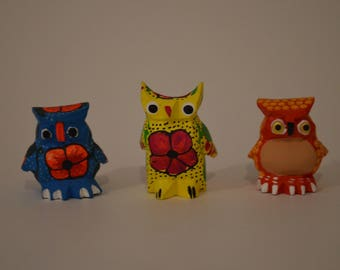 Set of 3 owls alebrijes