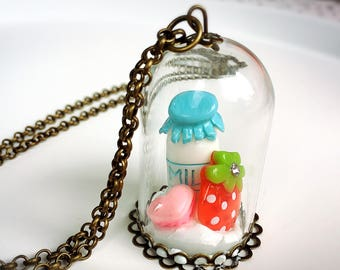 Milk + Strawberry + Macaron Decoden Necklace