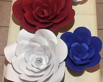 Large/Small Paper Flowers, Independence Day Inspired***CUSTOMIZE AVAILABLE***