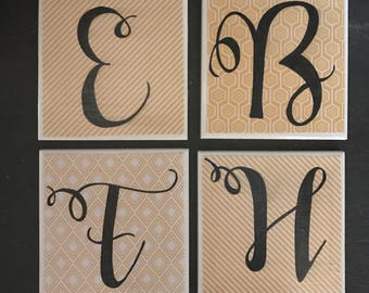 Single Letter Coasters** Your Choice of 4