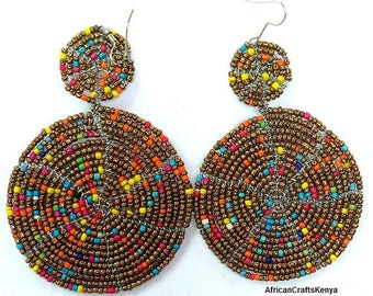 Maasai Earrings, Masai earrings, Beaded Earrings, African Earrings, Handmade Earrings, Kenyan Earrings, Colorful Earrings,Medallion Earrings
