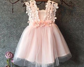 Girls sleevless dress, pink tulle dress, lace tulle dress, flower girl dress, holiday dress, soft lace dress, light pink dress, flower dress