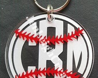 Monogrammed Baseball Acrylic Keychain -  Monogrammed Softball Acrylic Keychain