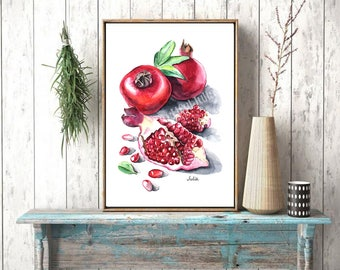 Pomegranate painting print, dessert art, kitchen art
