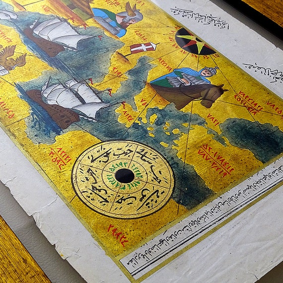Viking wall art gold foil painting map of viking invasion like this item gumiabroncs Images