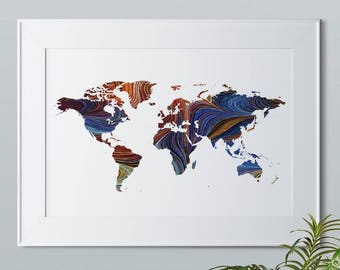 World Map Print, World Map, Earth, Office Decor, Map Prints, World