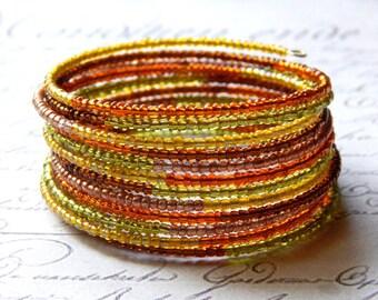 Seed Bead Memory Wire Bracelet - Autumn Fall Bracelet