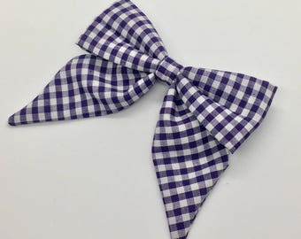 Dark Purple Gingham Sailor Bow