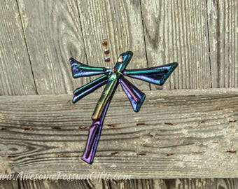 Fused Glass Dragonfly Garden Art, Dragonfly Suncatcher for the Garden or Porch, Fused Glass Art Dragonfly, Glass Dragonfly Art for garden