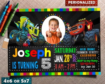 Blaze and the Monster Machines Invitation. Blaze and the Monster Machines Birthday. Blaze Party. Monster Truck Invites. Truck invitation