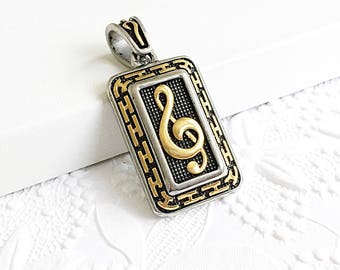 Large Music Note Pendant, Stainless Steel Music Note, Treble Clef, Two Tone Pendant, 47mm, STA011