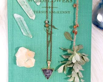 Druzy Necklace, Crystal Necklace, Gemstone Necklace, Triangle Necklace