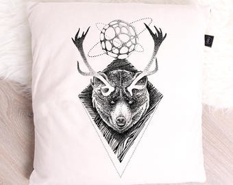 Illustration series Cushion cover limited black and white pointillism dotwork decoration bears the forest spirit
