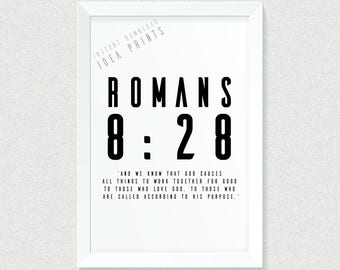 Bible Verse PRINTABLE Art, Christian Wall Art, Christian Print, Romans 8, Scripture Art, Christian Gifts, Christian Wall Decor, Minimalist