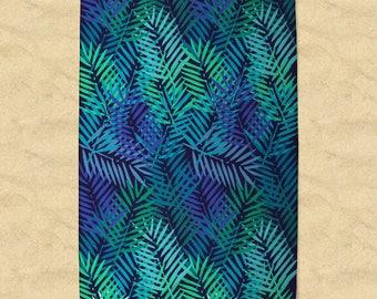 Palm Leaf Beach Towel, Palm Leaf Towel, Tropical Beach Towel, Soft Beach Towel, Blue Beach Towel, Cute Beach Towel, Beach Trip, 30 x 60