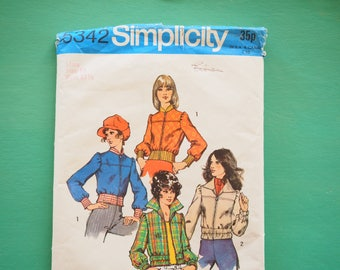 Simplicity 5342 Bomber Jacket 1970's Teenage misses retro vintage sewing pattern size 10 Bust 32 inches