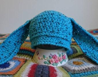 Newborn Beanie bunny ears, baby beanie, toddler beanie, merino wool, newborn hat, baby hat, toddler hat, bunny beanie, Crochet beanie,easter
