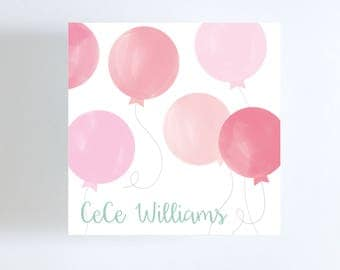 Watercolor Pink Balloons Gift Tag // Calling Card // Birthday
