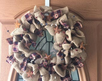 Country Rustic Burlap Wreath