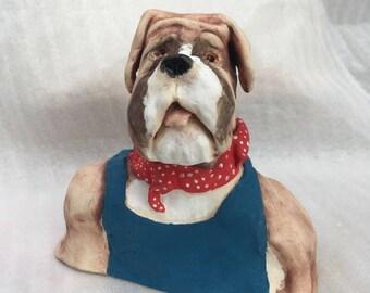 Here's Bob a stoneware ceramic handmade cute whimsical dog by Jacquie Cross