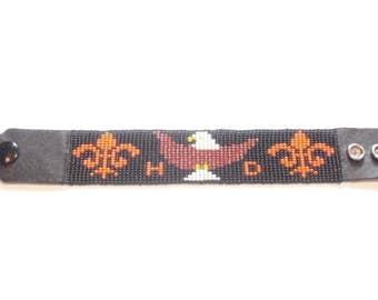 Pattern fleur de lis Harley Davidson bracelet
