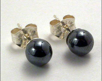 Hematite 5mm Round Studs Earrings - Sterling Silver
