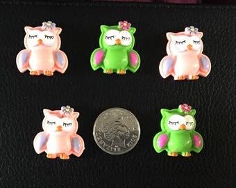 Set of 5 resin flat back owls