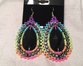 Beaded Rainbow Neon Earrings