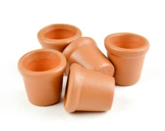 "Set of 5 Terra Cotta Pots - .5"" x .5"" x .5"" - Miniature Fairy Garden Dollhouse"