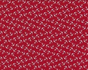 "Cotton print ""Baltic Sea"" anchor Red"