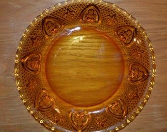 "Vintage Amber Indonesia Glass 9"" Pie Plate/Serving Bowl- Fleur de lis and Heart Border"