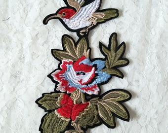 Bird and Santa Claus style embroidery applique patches available stocks