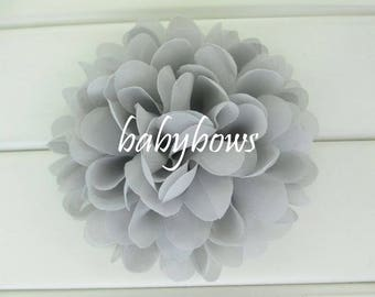 2 Grey Big Flower Baby Girl Flower Hair Clips 1 Pair