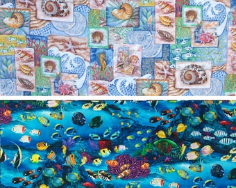 Fabric - Seashells & Coral OR Tropical Fish - Seashore - Beach - Underwater Sealife - 100% Cotton - 17 by 44 inches