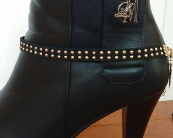 Black suede boot bracelet with gold studs