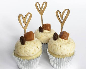 6 x heart laser cut wooden mini cupcake toppers