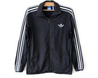 90's Adidas Jacket, Vintage Black Adidas Windbreaker, Adidas Track Jacket, Adidas Sweatshirt, Adidas Tracksuit, Adidas Activewear Size XL