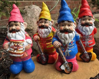 The Beatles Sgt. Peppers Garden Gnomes set; 10 inch high Beatles Sgt. Peppers Yard Ornament set; The Beatles Outdoor Statues, Lawn Decor