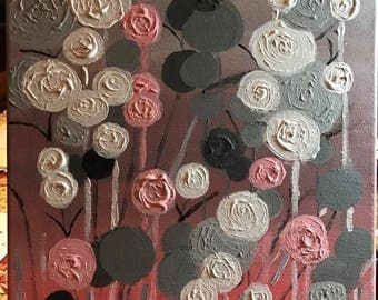 Floral Abstract Acrylic P:ainting on Canvas