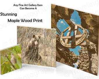 Maple Wood Print Art, Eco-Friendly Print, Wall Art, Wood Art, Wood Decor, Rustic, Wood , Wall Hanging,Natural Frame,Beauty of Wood,no border