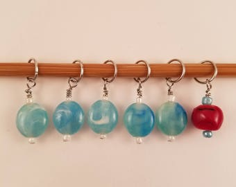 Glass Bead Stitch Markers-Turquoise and Red