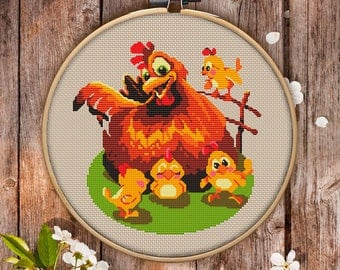 Funny Cross Stitch Pattern of Hen for Instant Download -034| Modern Embroidery| Kitchen Decor| Embroidery Hoop Art| Cross Stitch PDF