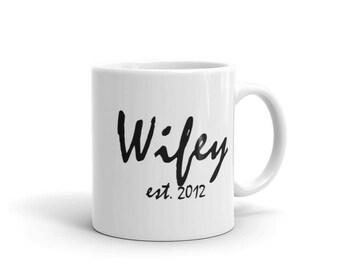 Ceramic Mug - Personalized Wifey Year, coffee, mug, home sweet home, wedding gift, newlywed, engagement, wedding shower, anniversary present
