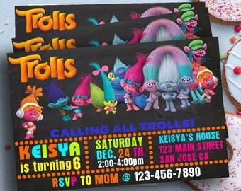 Trolls invitations,Trolls Birthday Invitation, Trolls Party,Troll Party Ideas,Trolls Party Invitation,Trolls Party Supplies,Trolls Partycard